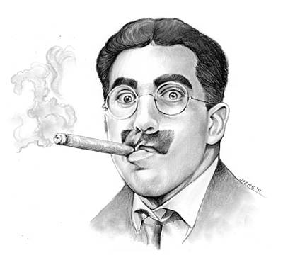 Mustache Drawing - Groucho by Greg Joens