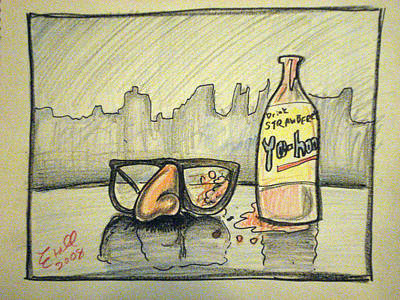 Groucho Marx Drawing - Groucho Marx Glasses Stained With Strawberry Yoo-hoo 2008 by Mike Etoll