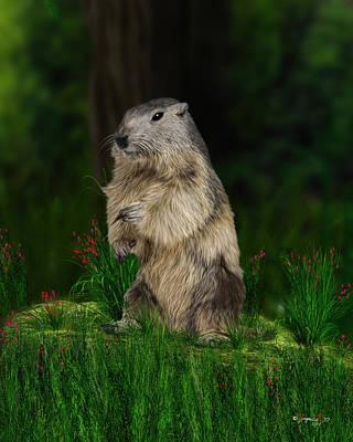Groundhog Digital Art - Groundhog by Jurgen Doelle