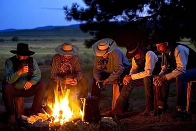 Gathering Photograph - Group Of Cowboys Around A Campfire by Richard Wear