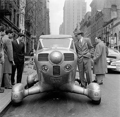 Group Of Men Looking At Futuristic Car (b&w) Print by Hulton Archive