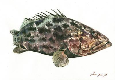 Grouper Painting - Grouper Fish by Juan Bosco