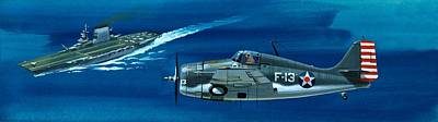 Airplane Painting - Grumman F4rf-3 Wildcat by Wilf Hardy
