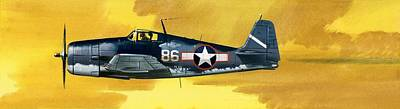 Airplane Painting - Grumman F6f-3 Hellcat by Wilf Hardy
