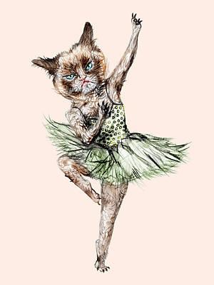 Siamese Ballerina Cat Print by Notsniw Art