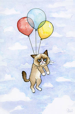 Grumpy Cat And Balloons Print by Olga Shvartsur