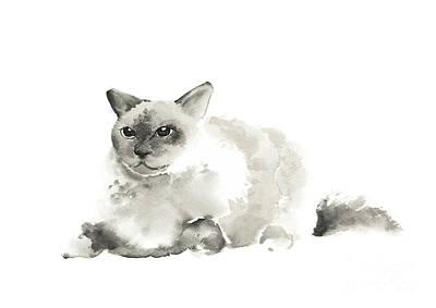 Grumpy Cat Painting Abstract Watercolor Art Print, Minimalist Modern Cats Poster  Print by Joanna Szmerdt
