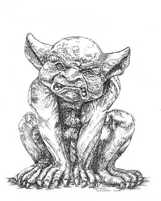 Drawing - Grumpy Gargoyle by Stephany Elsworth