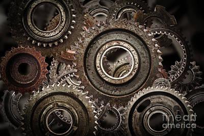 Gear Photograph - Grunge Gear, Cog Wheels Mechanism Background.. Industry, Science by Michal Bednarek