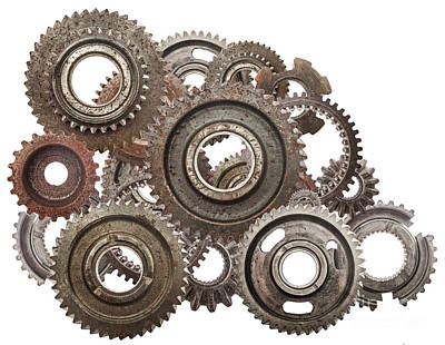 Mechanics Photograph - Grunge Gear, Cog Wheels Mechanism Isolated On White. Industry, Science by Michal Bednarek