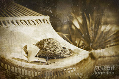 Grunge Photo Of Hammock And Book Print by Sandra Cunningham