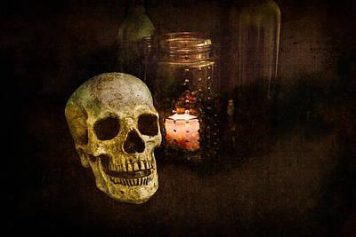 Wine Photograph - Grunge Skull Still Life by Erin Cadigan