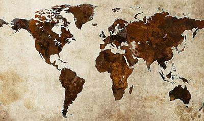 Atlas Digital Art - Grunge World Map by Gary Grayson