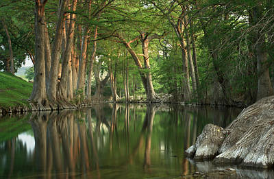 Cypress Trees Photograph - Guadalupe River Reflections by Paul Huchton