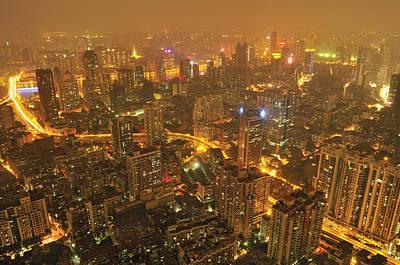 Guangzhou Skyline At Night Print by Huang Xin