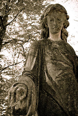 Marble Tomb-stones Photograph - Guardian- Cemetery Art by Colleen Kammerer
