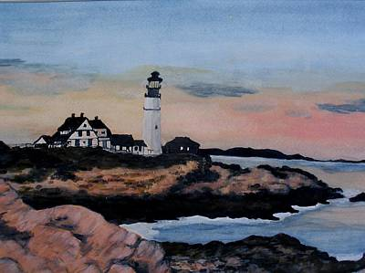 New England Lighthouse Painting - Guarding The New England Coast by Liz Borkhuis
