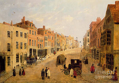 Cobbles Painting - Guildford High Street by English School