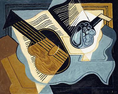 Guitar And Fruit Bowl Print by Juan Gris