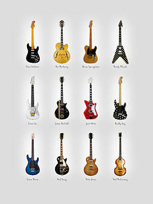 Guitar Icons No2 Print by Mark Rogan