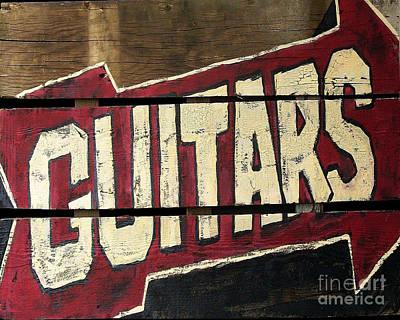 Fencing Painting - Guitar On Wood Horizontal by Noelle Rollins