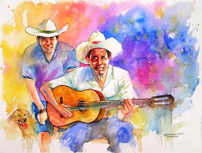 Campesino Painting - Guitarra by Cesar Roman Murillo
