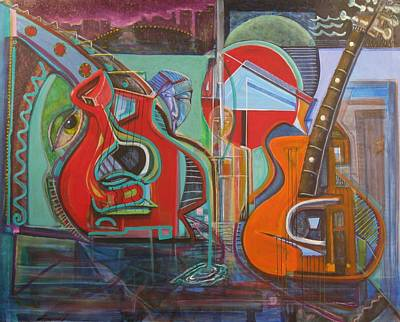 Jimmy Buffett Painting - Guitars Mars And The Missing Human Stars by Dennis Tawes
