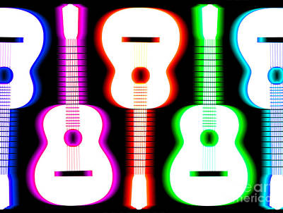 Green Drawing - Guitars On Fire 5 by Andy Smy