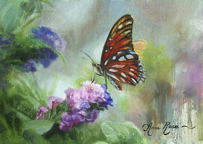 Insect Painting - Gulf Fritillary by Anna Rose Bain
