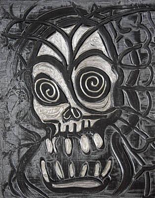 Tattoo Painting - Gunmetal Skull by Laura Barbosa