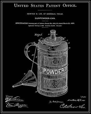 Gunpowder Can Patent - Black Print by Finlay McNevin