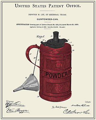 Gunpowder Can Patent Print by Finlay McNevin