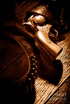 Old Plank Tables Photograph - Gunslinger Tool - Sepia by Olivier Le Queinec