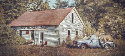 Old Trucks Digital Art - Gus Klenke Garage by Scott Norris