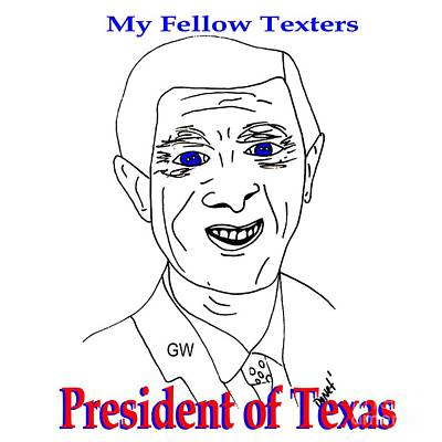 George Bush Painting - Gw On Texting by James and Donna Daugherty