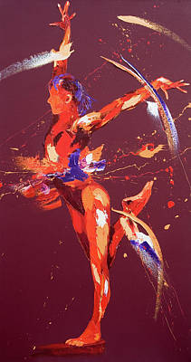 Free Form Painting - Gymnast Eight by Penny Warden