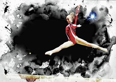 Gymnasts Digital Art - Gymnast Girl 2 by Jean Francois Gil
