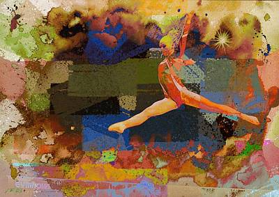 Gymnasts Digital Art - Gymnast Girl by Jean Francois Gil