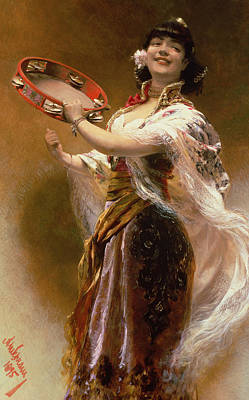 Spain Painting - Gypsy Girl With A Tambourine by Alois Hans Schram