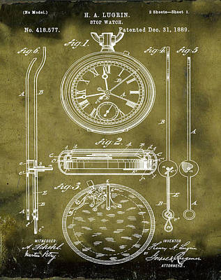 Sepia Chalk Photograph - H A Lugrin Stop Watch Patent 1889 In Grunge by Bill Cannon