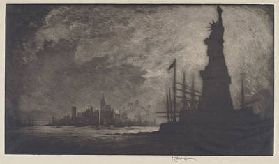 Statue Of Liberty Drawing - Hail America by Joseph Pennell