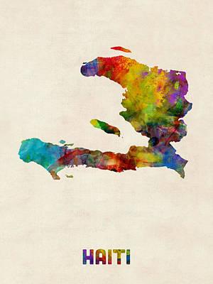 Haiti Digital Art - Haiti Watercolor Map by Michael Tompsett