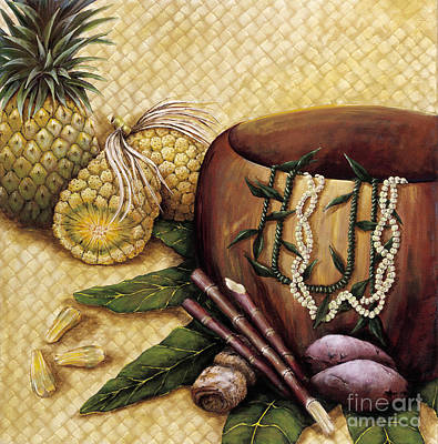 Wood Necklace Painting - Hala Kahiki by Sandra Blazel - Printscapes