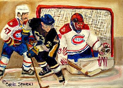 Halak Catches The Puck Stanley Cup Playoffs 2010 Print by Carole Spandau