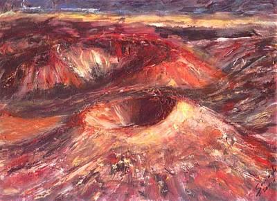 Original Painting - Haleakala Crater- Hawaii  by Mary Sedici