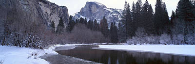 Snowscape Photograph - Half Dome And Merced River In Winter by Panoramic Images