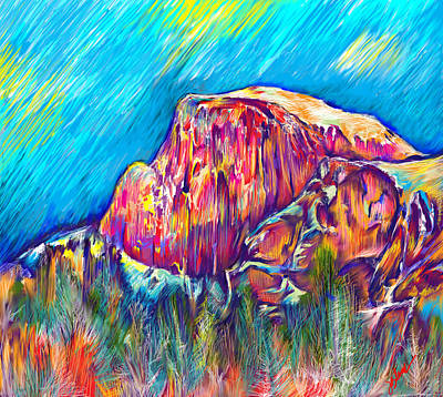 Yosemite National Park Digital Art - Half Dome In Winter by Julianne Black
