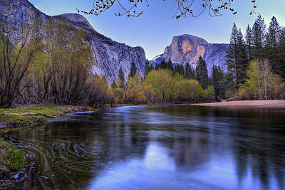 Spring Landscape Photograph - Half Dome Near Sunset by Jim Dohms