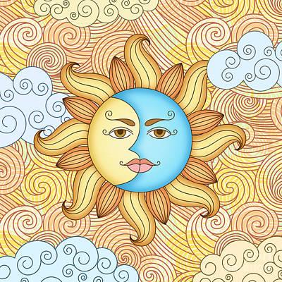 Abstract Digital Mixed Media - Half Moon And The Sun by Bedros Awak