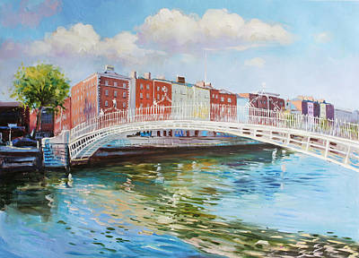 Tour Ireland Painting - Halfpenny Bridge Dublin by Conor McGuire